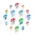 file types icons isometric 3d style vector image vector image