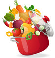 Fresh vegetables flying in a pot on an isolated vector image vector image