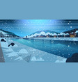 frozen river night view with small country houses vector image