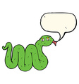 funny cartoon snake with speech bubble vector image vector image