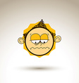 graphic drawing of melancholy personality face vector image vector image