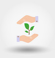 green twig in a hand sign of environmental vector image vector image