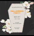 halloween party coffin invitation card square vector image