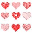 Hand drawn sketch hearts for Valentines Day design vector image vector image