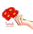 hand with flowers vector image vector image