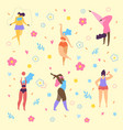 happy plus size girls and active healthy lifestyle vector image vector image