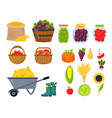 harvest flat icons harvesting equipment for vector image vector image