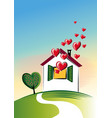 house from which many hearts out vector image vector image
