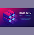 isometric mining farm landing page concept vector image vector image