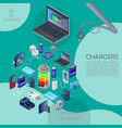 isometric modern chargers template vector image vector image