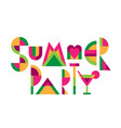 lettering title summer party vector image vector image