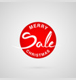 merry christmas sale round lettering logo vector image