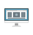 monitor play video icon flat style vector image vector image
