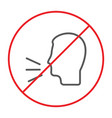 no talking thin line icon prohibited and warning vector image vector image
