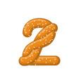 number 2 pretzel snack font two symbol food vector image vector image