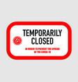 office temporarily closed sign coronavirus news vector image