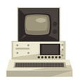 old computer 70s technologies screen and vector image