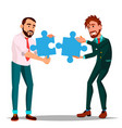 partnership two man businessman holding in vector image