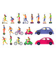 people on city transport electric scooter vector image