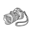 photo camera with huge lens sketch vector image vector image