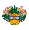 pineapple with sunglasses flower tropical summer vector image