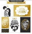 Printable set with couple in love and lettering vector image vector image
