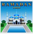 ramadan kareem mosque against the blue sky vector image vector image