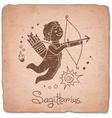 Sagittarius zodiac sign horoscope vintage card vector image vector image