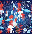 seamless sea pattern with jellyfish and fish vector image