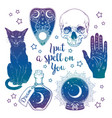 set magic witchcraft objects vector image vector image