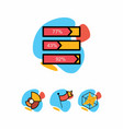 set of colorful business icons line graphics vector image