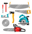 set of equipment and tools for forestry and lumber vector image