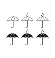 set of umbrella icons vector image vector image