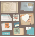 set old paper objects vector image vector image