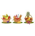 set picnic baskets food vector image vector image