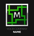silver letter m logo symbol in the square maze vector image vector image