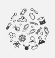 simple science and micro organism icon set virus vector image vector image