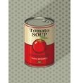 tin can with label tomato soup vector image vector image