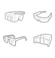 vr glasses icon set outline style vector image vector image