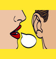 woman lips whispering in mans ear drawing vector image vector image