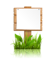 Wooden signpost with grass paper and reflection on vector image
