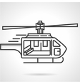 Flat line colored icon for emergency helicopter vector image