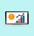 laptop with bitcoins and growth graph vector image