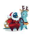 christmas card cute penguin in costume of santa vector image