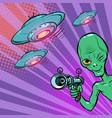 alien green man vector image