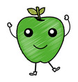 apple fresh fruit kawaii character vector image vector image