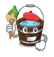 artist wooden bucket character cartoon vector image vector image