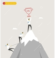 Businessman climbs the mountain cup in hand vector image