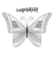 butterfly zentangle design with lettering vector image