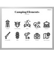 camping elements line pack vector image